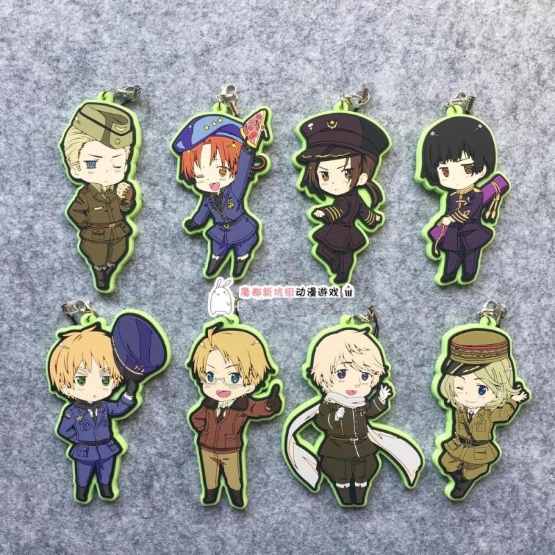 Axis Power Hetalia Anime APH The World Twinkle Uniform Ver Rubber Keychain ensemble stars anime idol high school game team trickstar bean eye ver japanese rubber keychain