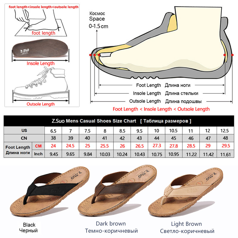 8daa97192 ZSUO Men Flip Flops Genuine Leather Slippers 2018 Summer Fashion Outdoor  Beach Shoes Men Sandals Big size 38 47 sandalias hombre-in Flip Flops from  Shoes on ...