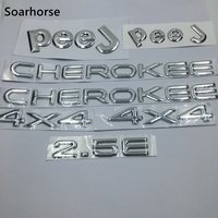 Soarhorse 7pcs/set For Jeep Cherokee 4x4 2.5E Letter Logo Car Body Emblem Badge Name Plate Sticker