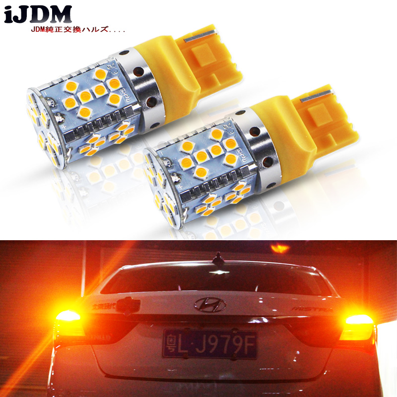 (2) Error Free Amber Yellow 7440 <font><b>T20</b></font> <font><b>21W</b></font> LED Bulbs For Car Front or Rear Turn Signal Lights (No Hyper Flash and No Modification) image