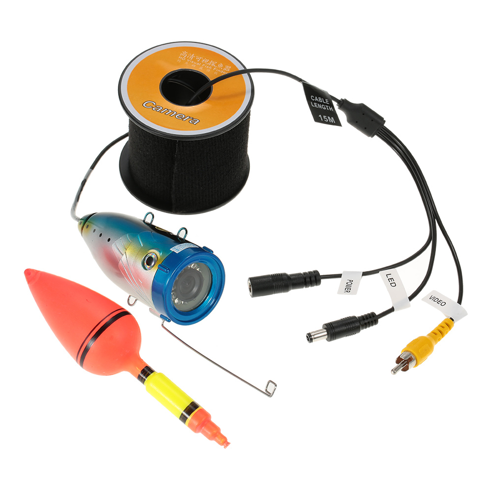 Underwater 1000TVL Fishing Video Camera Waterproof 12PCS White LED Lights Fish Finder Fish Detector 15m 30m
