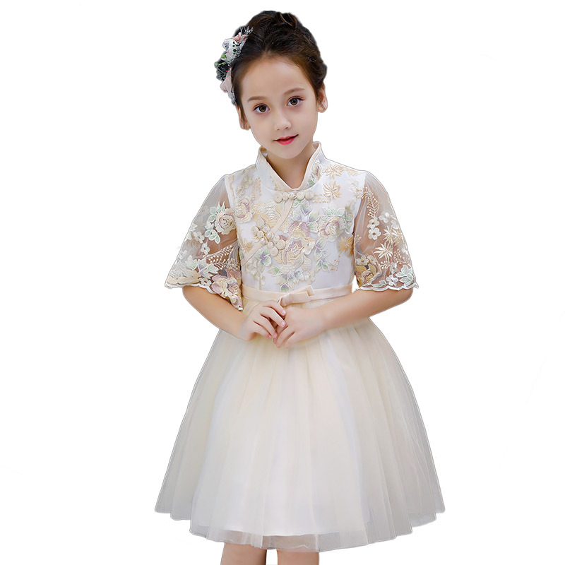 Yellow New Year Girl Dress Princess Chinese Style Kids Vestido Princesa 4 6 8 10 12 14 Year Old 2019 Girls Clothes 184077