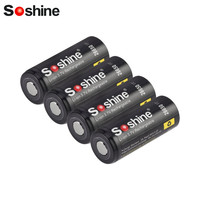 Soshine 26650 قابلة للشحن بطارية 3.7 فولت 4200 مللي أمبير حماية فاحش مدى التفريغ الزائد ماس كهربائى