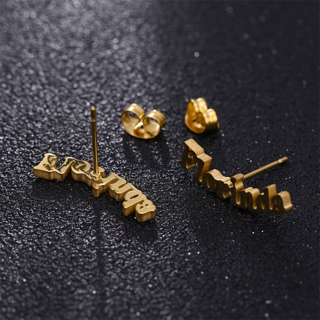 Stainless Personalized Name Letter Stud Earrings
