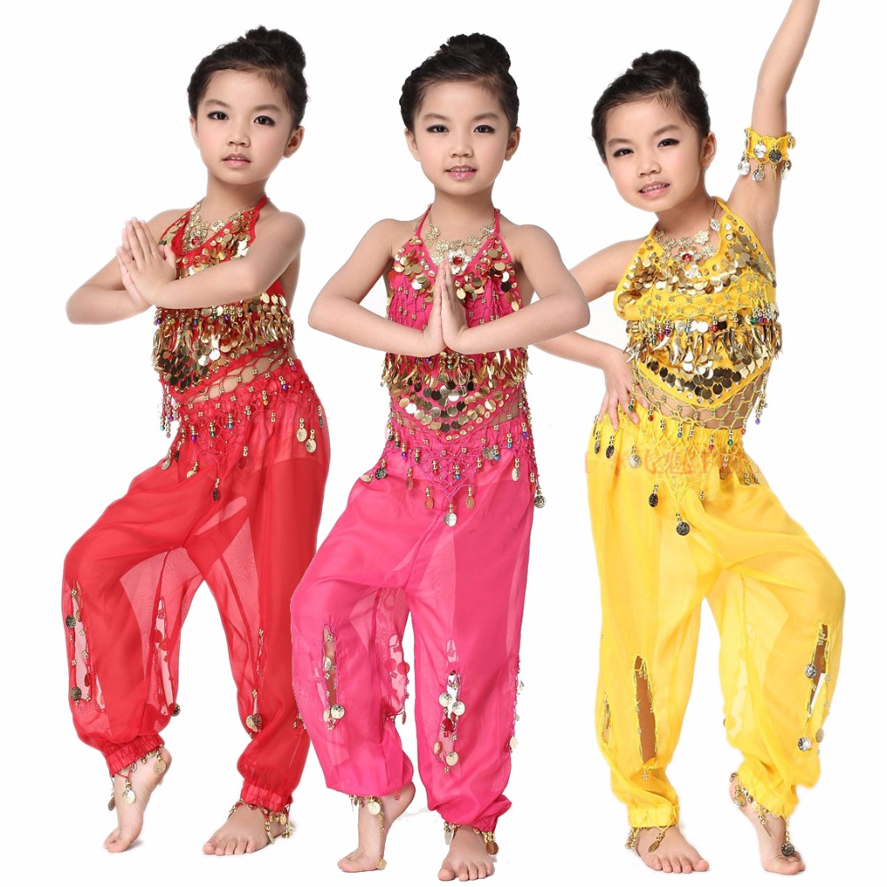 New Girls Belly Dance Costumes Senior Chiffon Gold Coins Top+trousers 2pcs Belly Dance Set For Girls Belly Dance Suits