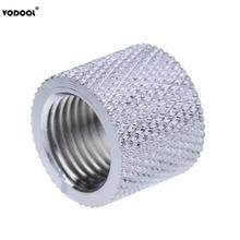 Silver G1/4 Inner Thread Water Tube Connector Adapter 17mm Diameter 15mm Length Tube