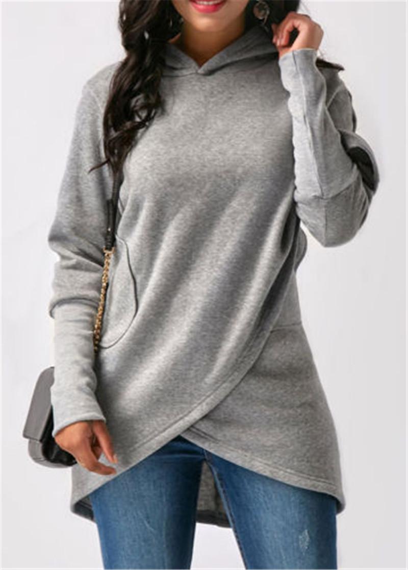 Women  Autumn Winter Pullover Hoodies Solid  Long Sleeve Irregular Jumper  Loose Knitted Tops For Ladies Casual  Coat Femme W3