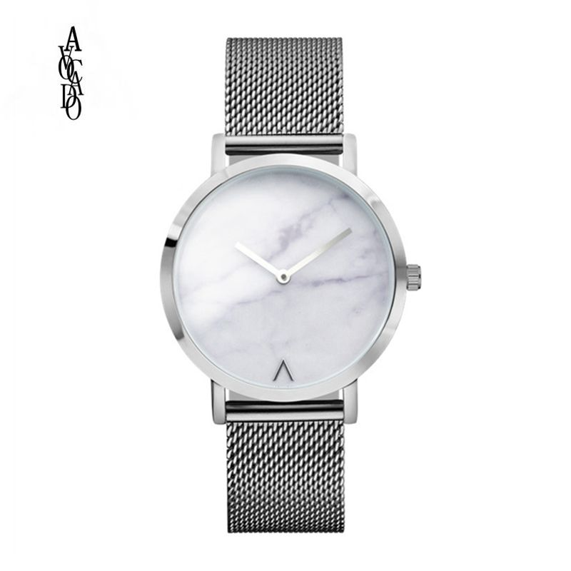 AVOCADO Rose Gold Ultra Thin Bracelet Women's Fashion Watch 2018 Hot Ladies Minimalist Design Marble Clock Quartz Wristwatches