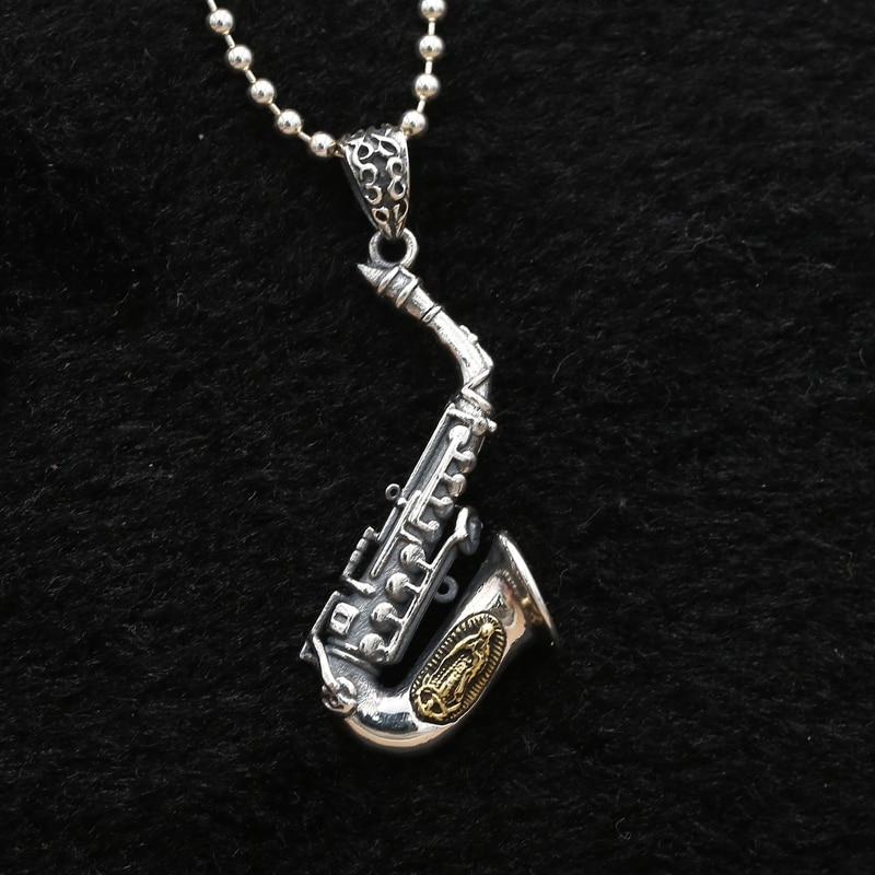 Solide Argent 925 Saxophone Charmes Pendentif Pour Collier Antique Sterling Argent 925 Unique Design Hommes Bijoux Accessoire Cadeaux