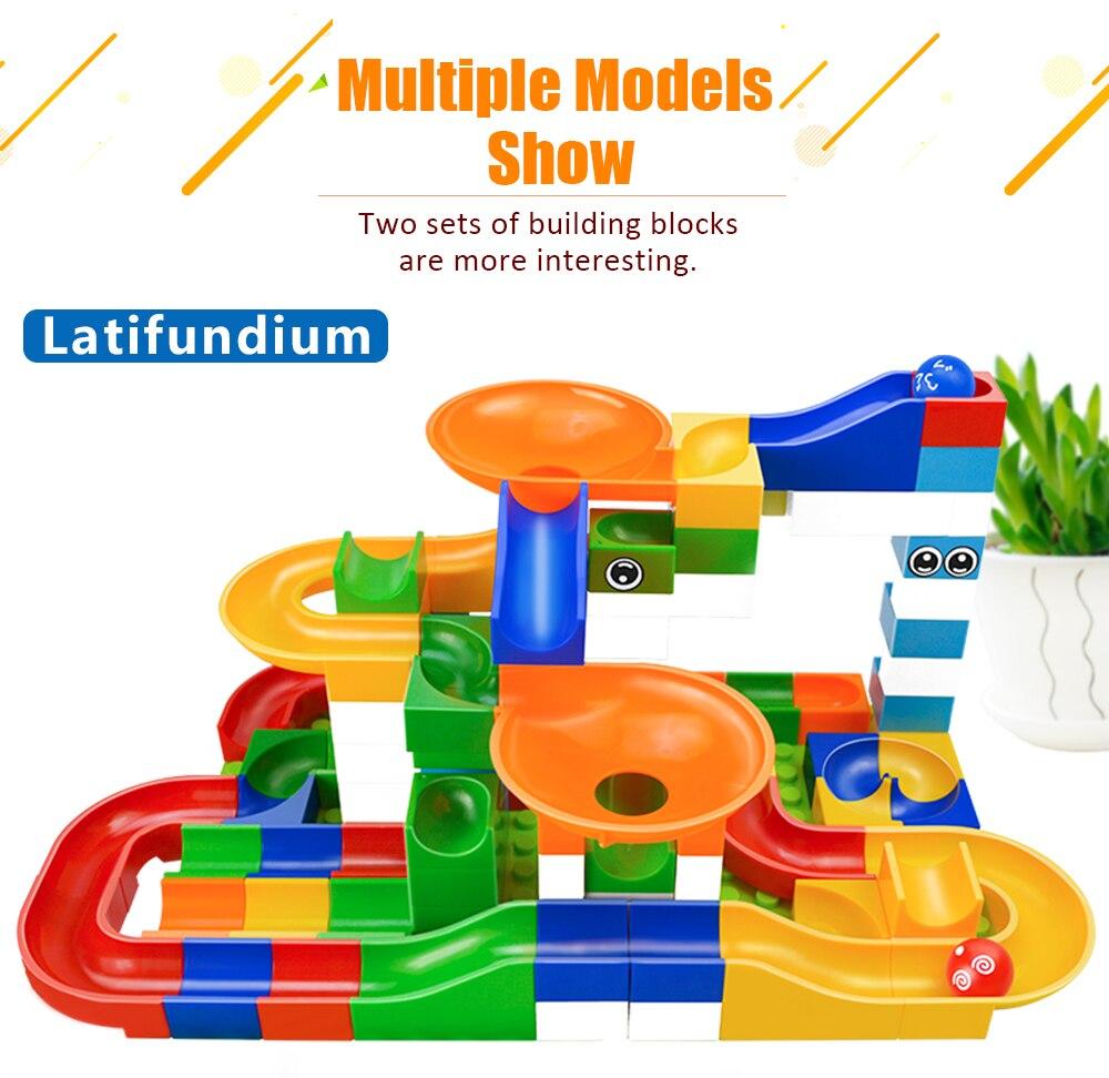 52pcs DIY Construction Marble Race Run Maze Balls Track Gaming Building Blocks Toys For Kids Children
