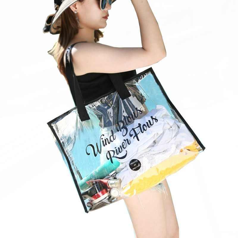 d15902368f Large Capacity PVC Summer Waterproof Transparent Shoulder Beach Bag Women  Messenger Bags High Quality PVC Crossbody