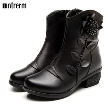 Women Boots Shoes Woman Handmade Vintage Genuine Leather Low-Heeled Shoe Round Toe High Quqlity Shoes Winter Fashion Shoes Women