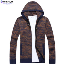 HENG JI Men's hooded sweaters, thick-woven cardigans, anti-winding-sand oversized knitwear, winter insulation, high quality