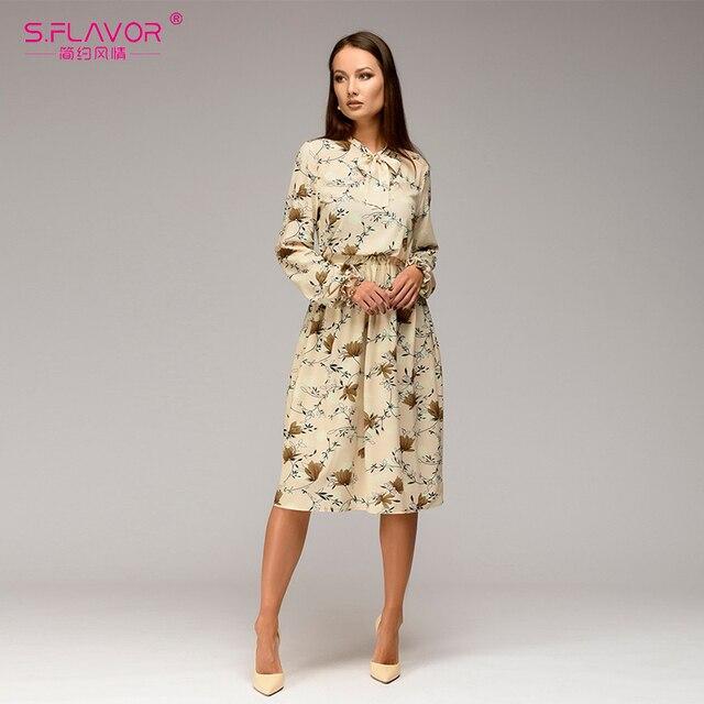 24da54dce34 S.FLAVOR Women casual knee-length dress 2018 new arrival long sleeve  printing autumn