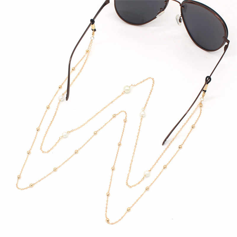 Gold Plated Pearl Beads Double Layer Chain Eyeglasses Chains Glasses Rope Sunglasses Strap Cord Neck Band