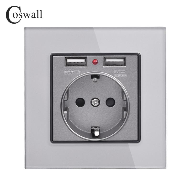 Coswall cristal Panel Dual USB puerto de carga 2.1A 16A Rusia España toma de corriente EU Blanco/Negro/dorado/gris