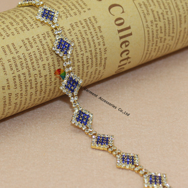 1 Yards Czech crystal Sapphire Royal Blue Rhinestone Diamond Chain Applique  Sash Trims Gold Set For DIY Browbands Costume Making 6d20fedf09c9