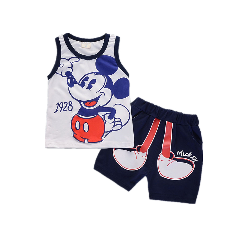 Summer Baby Boys Girls Cartoon Clothes Suits Children Vest Short Pants 2Pcs/sets Infants Outfit For 1-4 Years Kids Tracksuits