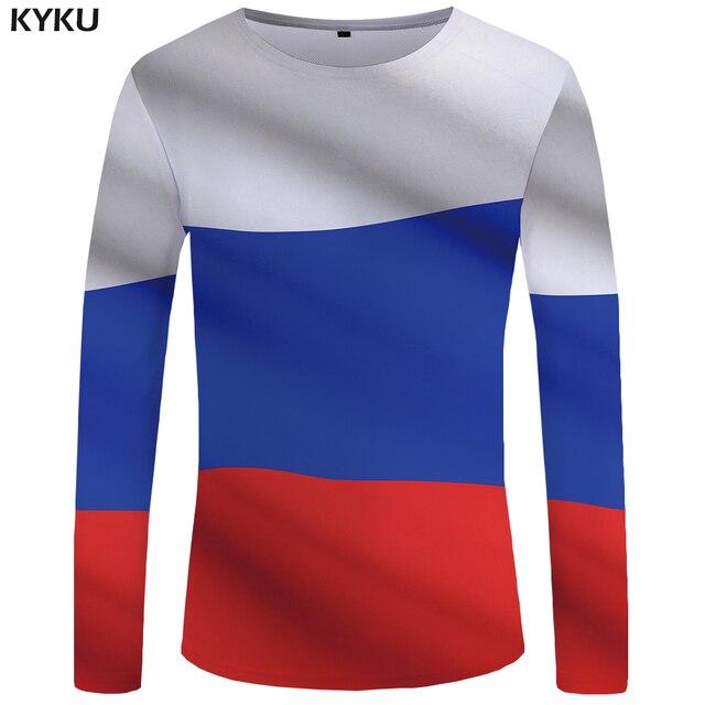 KYKU marca Rusia Camiseta de manga larga bandera rusa Tees camisetas  divertidas ropa Tops camiseta hombres 0bc127c2b6f