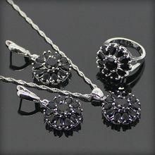 Gota de moda Negro Creado Topaz 925 Pendientes de Plata de La Joyería Para Las Mujeres de La Astilla/Colgante/Collar/Anillos Caja de Regalo libre