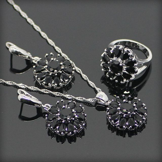 Trendy Drop Black Created Topaz 925 Sterling Silver Jewelry Sets For Women Sliver Earrings/Pendant/Necklace/Rings Free Gift Box