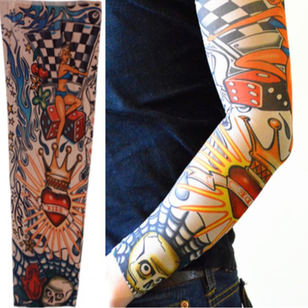 Cool Body Stickers Temporary Tattoo Sleeves Mixed Nylon Striped Stockings Elastic Arm Tattoo Sleeve Men Women Fake Tatoo Sleeves