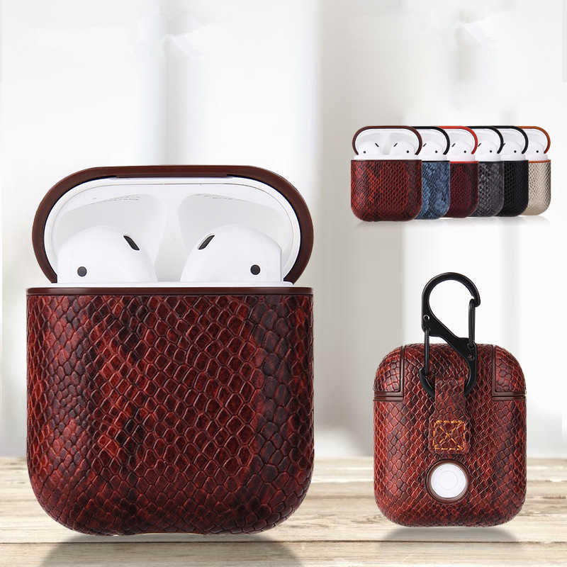 Sexy Snake Skin Bag Case For Apple AirPods Bluetooth Wireless Earphone Leather Case For Air Pods Funda Cover Charging Box Cases