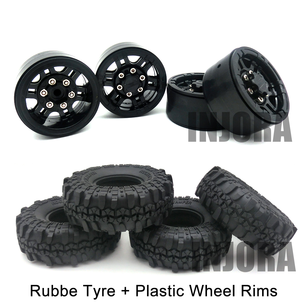 4PCS 1.9 Rubber Wheel Tires & Plastic Beadlock Wheel Rim for 1:10 RC Rock Crawler Axial SCX10 90046 Tamiya CC01 RC4WD D90 D110 4pcs rc crawler truck 1 9 inch rubber tires
