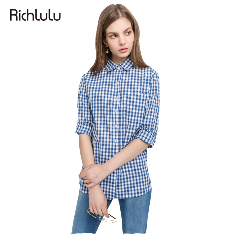 RichLuLu Blue Plaid Lapel Long Sleeve Blouses Shirt Boyfriend Women Cardigans Leisure Chemise Chiffon Checker For Wholesale