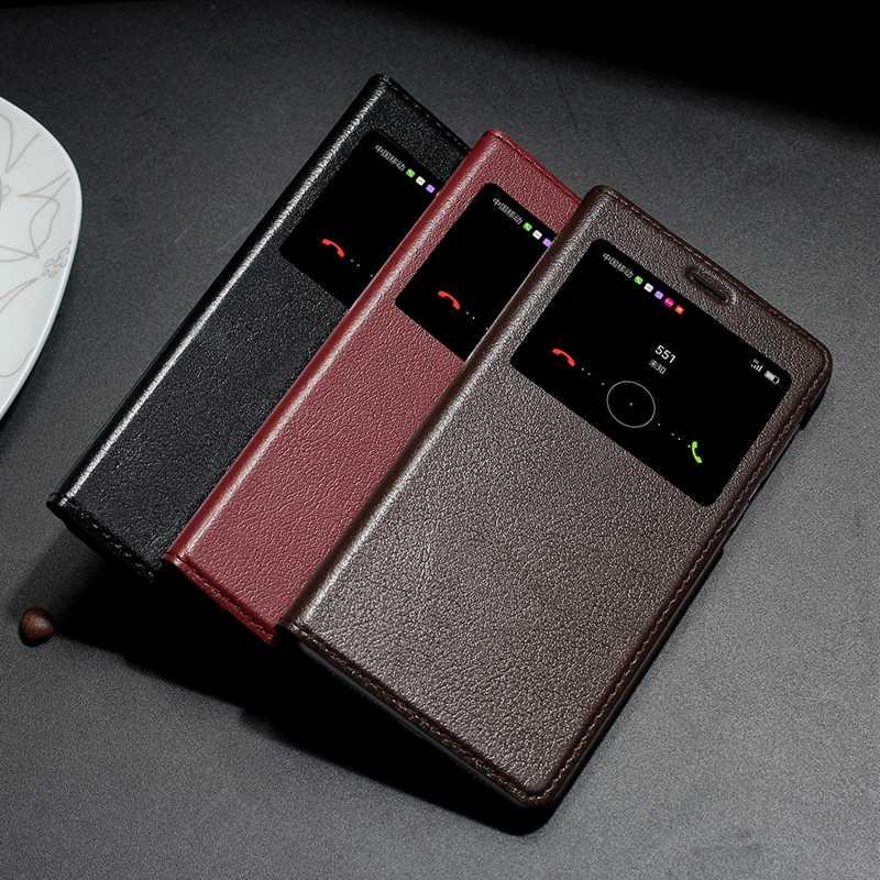 imágenes para Caja Del Teléfono Del Cuero genuino Para Huawei Honor Cubierta Vista de la Ventana de Lujo Magnética Fundas Para Honor 6X 6X Flip Caso de Coque
