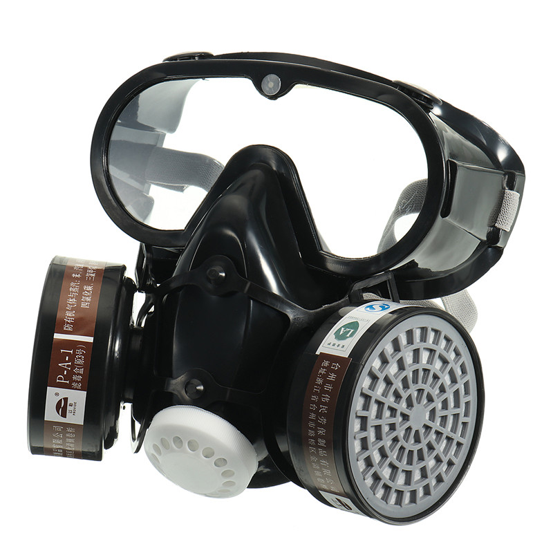 Respirator Gas Mask Chemical Anti-Dust Filter Military Eye Goggle Set Workplace Safety Protection