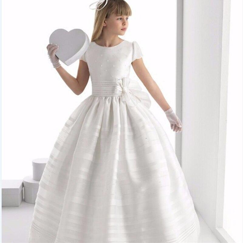 Mode Blume Mädchen Kleider Charming weiß elfenbein kurzarm Satin Bodenlangen Mädchen Pageant Kleider Erstkommunion Kleider
