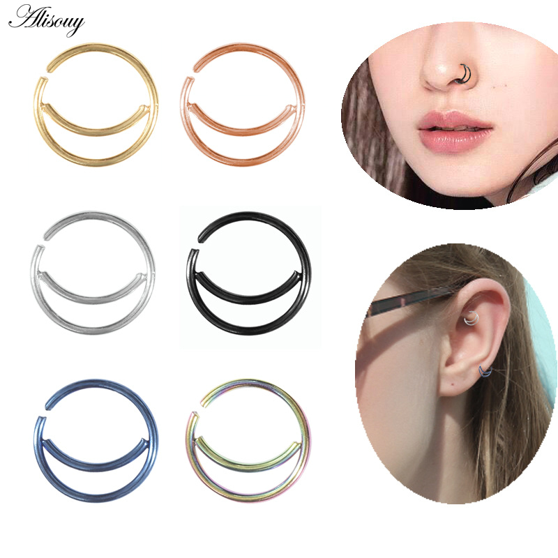 Alisouy 1Pc New Style Surgical Steel Indian Nose Rings Studs Women Men Nose Ring Hoop Piercings Nose Ring Body Piercing Jewelry