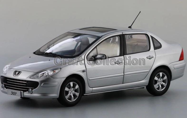 * Silver 1/18 Peugeot 307 Sedan Die-Cast Model Car Simulation Mini Vehicle Collectable Diecast Slot Cars
