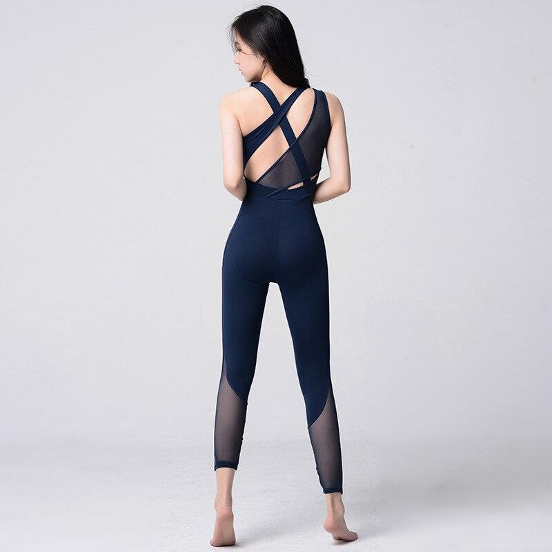 4ff51ef9659e Las mujeres Sexy de una sola pieza Yoga conjuntos de malla de Slim polainas  Fitness conjuntos trajes ...