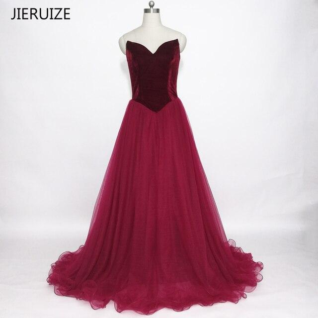 JIERUIZE Simple Burgundy Velvet Evening Dresses Long Lace Up Back ...