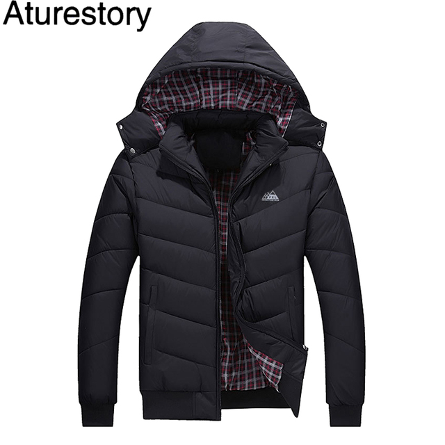 00112e97f Aturestory Mens Jackets and Coats Men's Winter Protection Cold-Proof  Quilted Coat Thick Cotton Overcoat