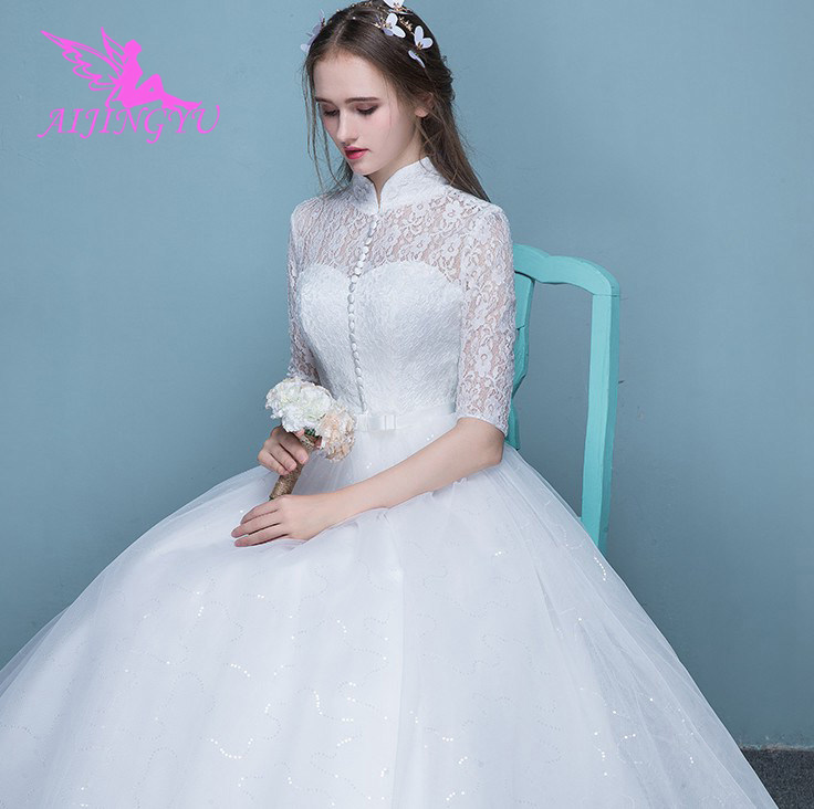 AIJINGYU 2018 White Free Shipping New Hot Selling Cheap Ball Gown Lace Up Back Formal Bride Dresses Wedding Dress FU235