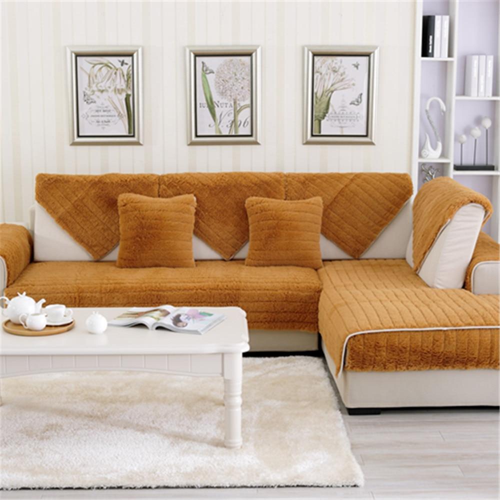 Combination Seat Sofa Covers Protector Plush Eco Friendly Anti Mite Sofa Slipcover Couch Cover