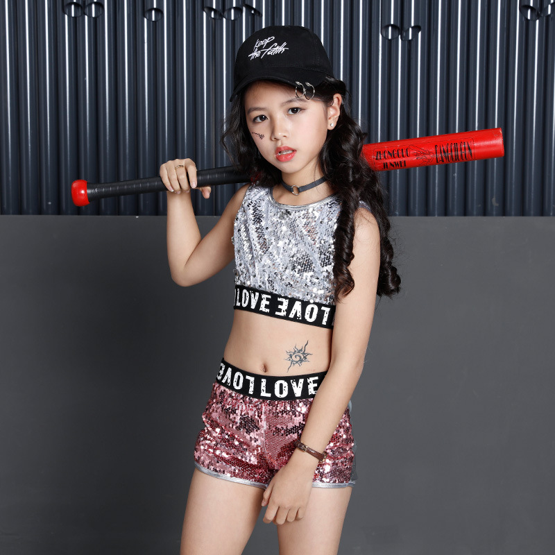 63c3345ca4af Kids Sequin Hip Hop Clothing Clothes for Girls Jacket Crop Tank Tops ...