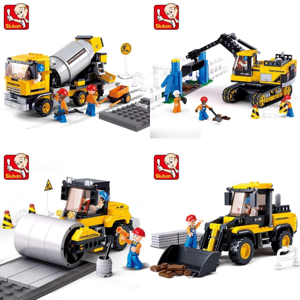 SLUBAN City Engineering Construction Car Forklift excavator Building Blocks Sets Bricks Model Kids Toys Compatible Legoe decool technic city series excavator building blocks bricks model kids toys marvel compatible legoe