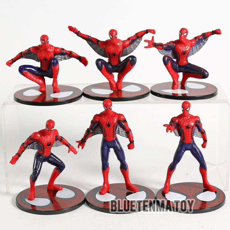 Action & Toy Figures Shop For Cheap 6 Pcs/set Avengers Infinity War The Amazing Spider-man Peter Parker Spider-man Pvc Action Figure Collectible Model Toy Good Taste