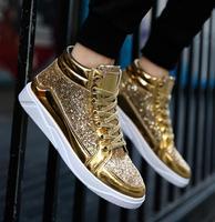2019 Mens Shoes Flat Sneakers Large Size 39 45 Mens Shoes Footwear Black Gold High Top Sneakers for Men Hip hop Shoes deportivas