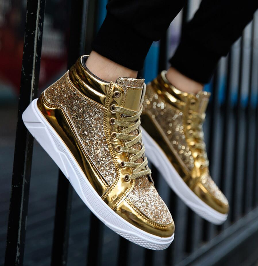 2019 Mens Shoes Flat Sneakers Large Size 39 45 Mens Shoes Footwear Black Gold High Top Sneakers for Men Hip hop Shoes deportivas
