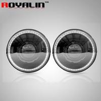 ROYALIN 7 for 07 15 Jeep Wrangler JK Headlights No Error with Car DRL Hi/Lo Q5 Bi Xenon Lens LEDs Angel Eye for D1S D2S/R Lamps