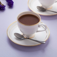 Jingdezhen porselein gold side koffie set, creatieve afternoon thee set, europese pure witte keramische koffie met lepel