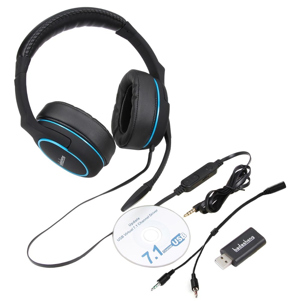 badasheng 7 1 Surround Sound channel USB Gaming Headset Wired Headphone  with Mic Earphone Volume Control Noise Cancelling 5-in-1