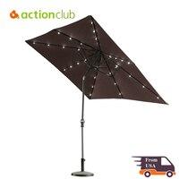 100 Polyester Rectangular Patio Umbrella Solar Powered 30 LED Lights With Push Button Tilt And Crank