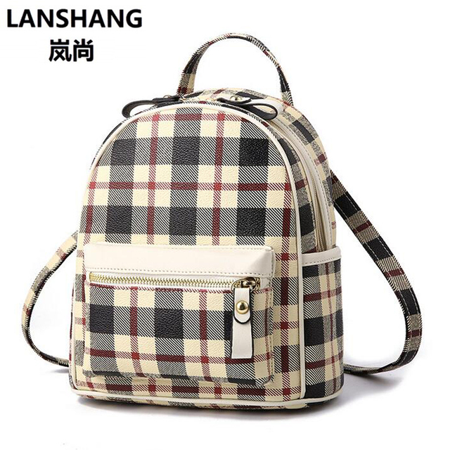 7ac2908ca071 2018 New Women s Fashion Plaid PU Leather Backpack Double Shoulder Bag  Europe US British Casual Bag Female Backpack HYL70