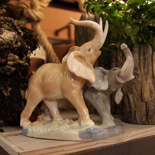 Éléphant jardin artisanat porcelaine animaux figurine mère et enfant éléphant en céramique décor à la maison artisanat salle de mariage décoration